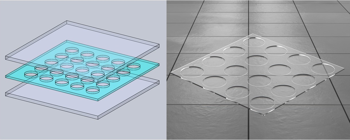 Simulation of the new glass design which allows sound transmission.