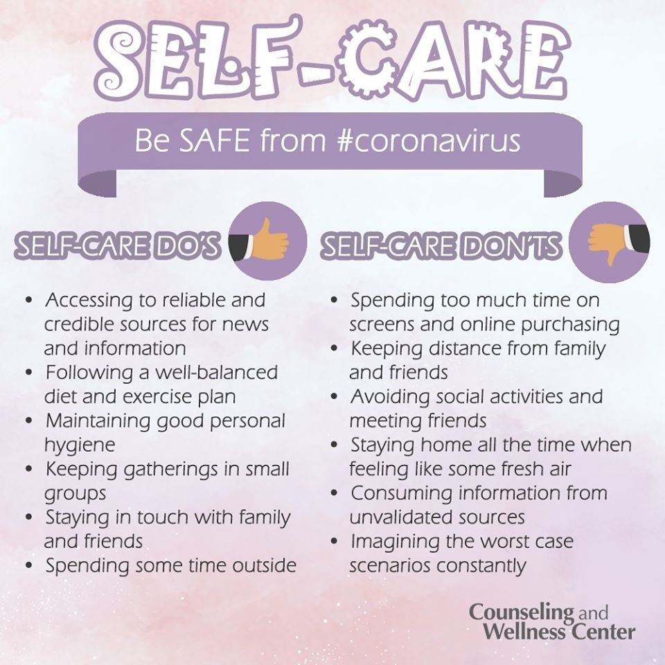Self-care tips for coping with the coronavirus pandemic.