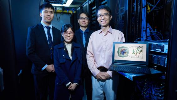 (From right) Prof. Huang Xuhui and his research team members Dr. Peter CHEUNG, Dr. Carmen TSE and Dr. SHEONG Fu-Kit conduct part of the calculation with HKUST's computing servers.