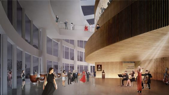 Perspective of the Lobby of the Shaw Auditorium Photo credit: Henning Larsen Architects Hong Kong