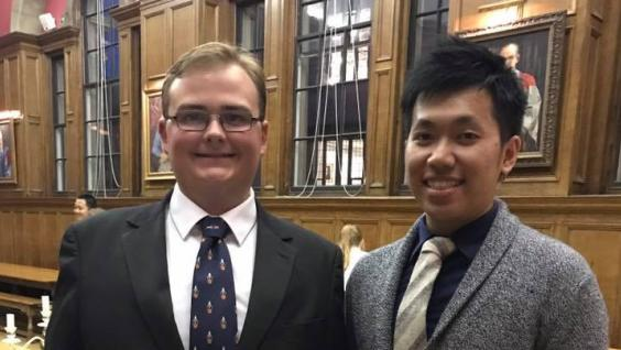 The colorful and extraordinary experiences of Dennis Chow (right) impressed the interviewer who processed his application for the exchange program at the University of Oxford.