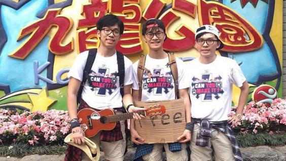 Dennis Chow (left) partnered with two of his hall mates to join a competition to pitch an energy drink to strangers that earned the group a 30-day trip to Europe.