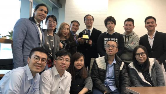 Prof. Gary Chan (fourth left, back) with Mr. Arthur Chan (fourth right, back) and the Compathnion team.