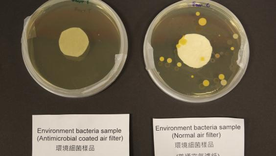 Environment bacteria sample of HKUST's antimicrobial coated air filter (left) as compared to sample using normal air filter (right).