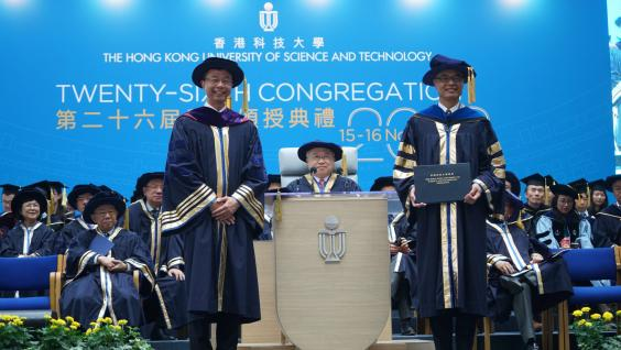 HKUST Council Chairman Mr. Andrew LIAO Cheung-Sing (middle) and Council Vice-chairman Prof. John CHAI Yat-Chiu witness Prof. Wei SHYY (right)'s installation as HKUST's new president.