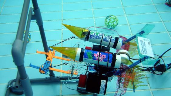 A student-made robot is scoring the goal.