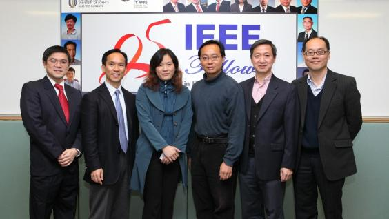 The six newly elevated IEEE Fellows at HKUST (from left) Prof Oscar Au, Prof Johnny Sin, Prof Qian Zhang, Prof Vincent Lau, Prof Danny Tsang and Prof Roger Cheng.