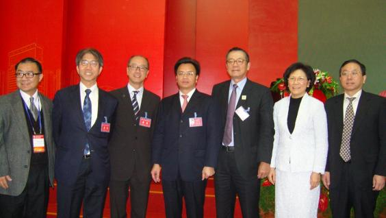 Professor Tony F Chan, HKUST President (third from left), Mr Wan Qingliang, Party Secretary and Mayor of Guangzhou Municipality (fourth from left) and other guests at the ceremony.