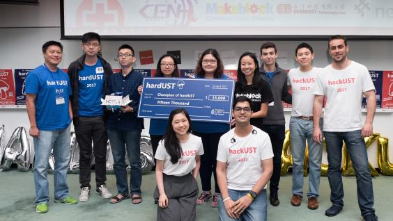 "Team members of ""Moving Hotel"" won the champion in hardware hackathon."