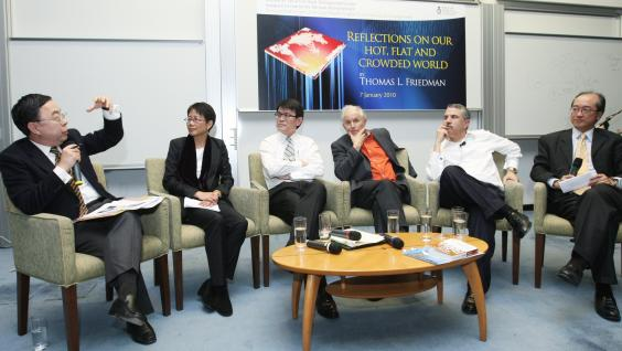 At the panel discussion are (from left) Mr Ronnie Chan, Dr Christine Loh, Mr Edward Yau, Sir Harold Kroto, Mr Thomas Friedman and President Tony Chan.