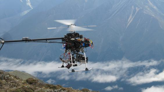The unmanned helicopter hovering above the Yarlung Zangbo Grand Canyon