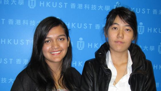 HKUST attracts top students from around the world - Ms Carolina Garcia, top scorer from El Salvador (left) and HKSAR Government scholarship winner Ms Nitcharee Nittnavakorn from Thailand.