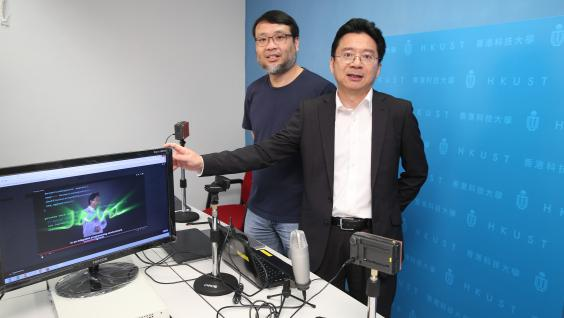 "Prof Ting-chuen Pong (right) and Prof King-lau Chow introduce how to produce online course materials at the mini ""lecture room""."