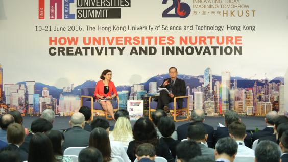 Dr France A Córdova (left), and HKUST Vice-President for Institutional Advancement Dr Eden Woon