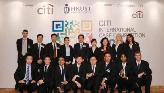 The 3 winning teams and their faculty advisors pose with Mr. Shengman Zhang, Citi Country Officer, HK (center, back), Dean Cheng of HKUST Business School (3rd from left, back), Mr. Sammy Kam, Technical Director (2nd from left, back) and Mr. Antony Morris,