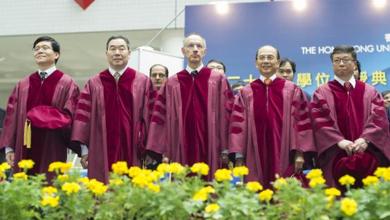 The five honorary doctorate recipients: (from left) Prof Yu XIE, Prof Mu Ming POO, Sir Michael MORITZ, Dr Michael Hoi Hung MAK and Prof Chih-Ming HO.
