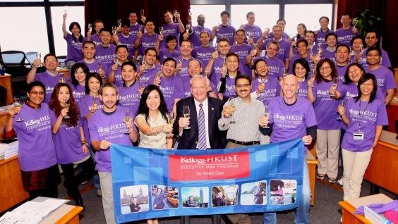 The Kellogg-HKUST EMBA Program faculty, staff and students cheer the No. 1 rank of the program by the Financial Times.