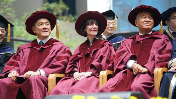 HKUST confers honorary doctoral degrees to (from right) Dr. Henry CHENG Kar-Shun, Prof. Carol DWECK, and Mr. Martin TANG Yue-Nien.