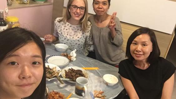 "Sara Man, a Year-4 undergraduate says: ""I really had a great time with the international students and they both enjoyed the meal prepared by my family and me"". Sara hosted Paula Grossman from Germany, and Angelica Intan from Indonesia."