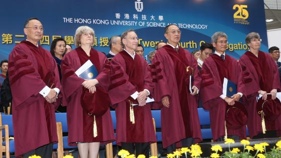 The six honorary doctorate recipients: (from left) Dr Gerald L Chan, Prof Ingrid Daubechies, Prof Robert S Langer, Mr Liu Chuanzhi, Prof Kam-biu Luk and Prof Elizabeth J Perry.