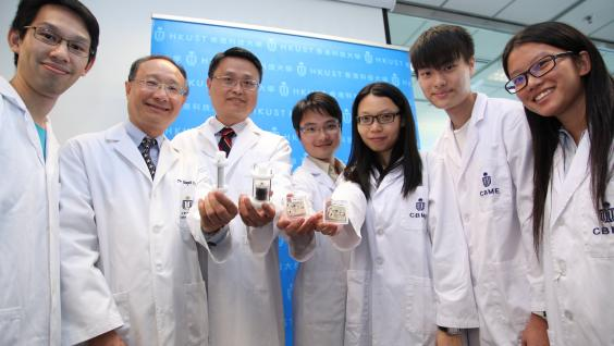 Prof King-Lun Yeung (third left), Prof Joseph Kwan (second left) and the research team.