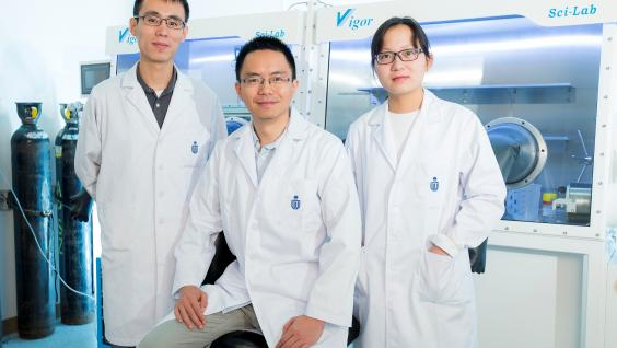 Prof Henry He Yan (middle)'s research team