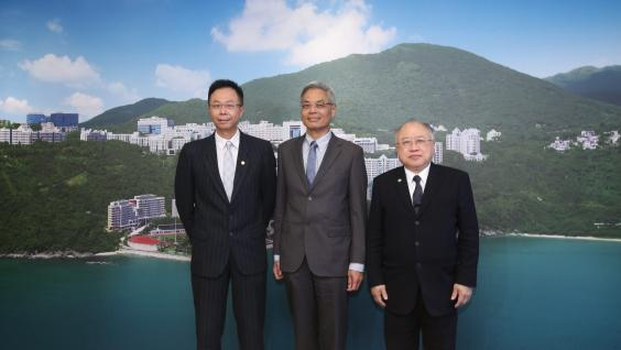 (From right) Council Chairman Mr Andrew Liao Cheung-sing, Prof Wei Shyy and Council Vice-Chairman and Chairman of Search Committee Prof John Chai Yat-Chiu in media briefing