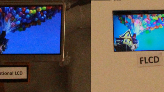 HKUST's FLCD (right) outperforms traditional LCDs (left) in both image resolution and color saturation