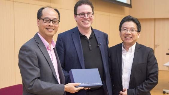 (From left) HKUST Associate Provost (Teaching and Learning) Prof Roger Cheng, Founder and CEO of Minerva Project Mr Ben Nelson and HKUST Senior Advisor to the Executive Vice-President and Provost (Teaching Innovation and e-Learning) Prof Pong Ting Cheun.