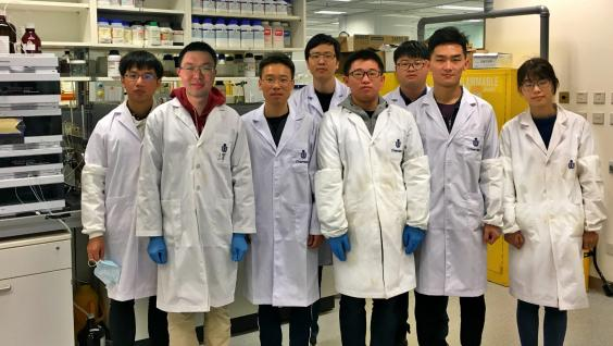 Prof Sun (third, left) and his research team at HKUST.