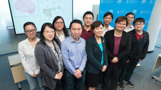 Prof Nancy Ip (front row, middle), Prof Amy Fu (front row, second right), Prof Tom Cheung (front row, second left) and other research team members
