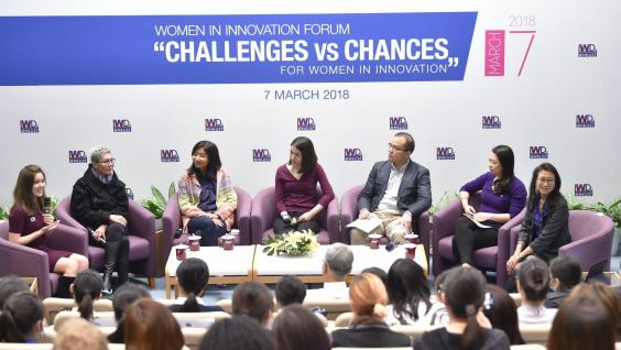"Members of the panel discussion at the Women in Innovation Forum ""Challenges vs Chances""."