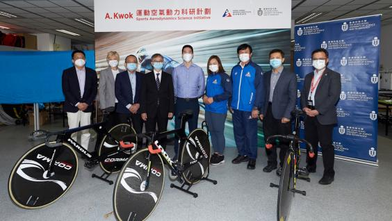 Dr. David CHUNG, Under Secretary for Innovation and Technology (4th from left), Mr. Adam Kwok, Executive Director of Sun Hung Kai Properties (centre), Prof. Tim CHENG Kwang-ting, Dean of Engineering (3rd from left) and Prof. ZHANG Xin, Chair Professor of Department of Mechanical and Aerospace Engineering of the Hong Kong University of Science and Technology (1st from left), Dr. Trisha LEAHY, Chief Executive (2nd from left), Dr. Raymond SO, Director of Elite Training Science and Technology (1st from right),